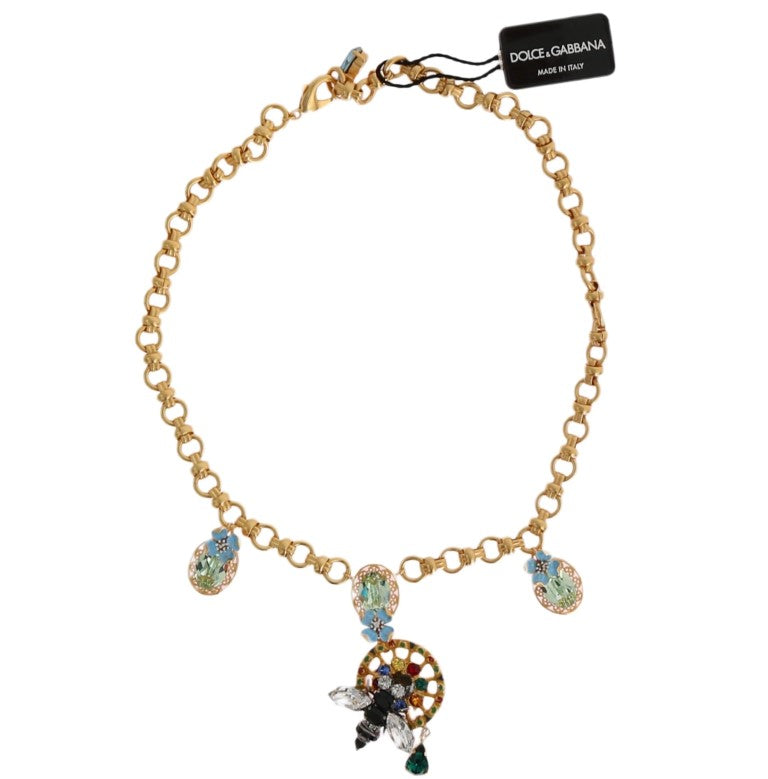 Dolce & Gabbana - Gold Brass Crystal Carretto Charms Necklace