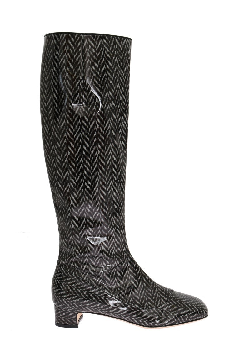 Dolce & Gabbana - Black Gray Chevron Leather Boots