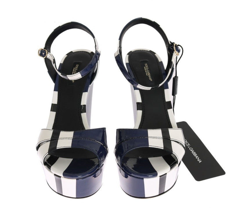 Dolce & Gabbana - Multicolor Striped Leather Wedges Sandals