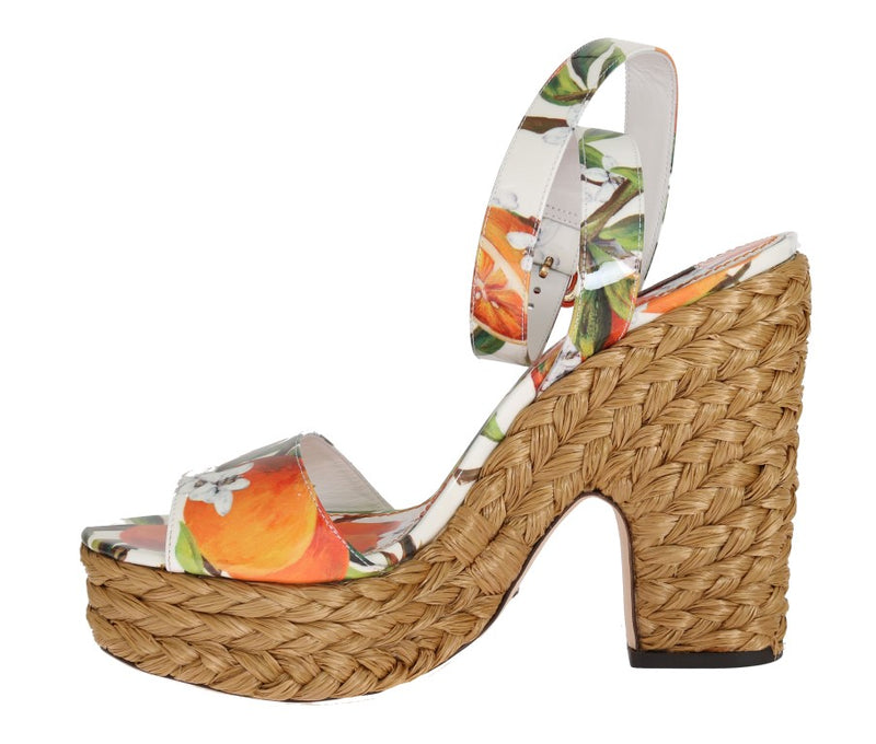 Dolce & Gabbana - Orange Leather Straw Platform Sandals