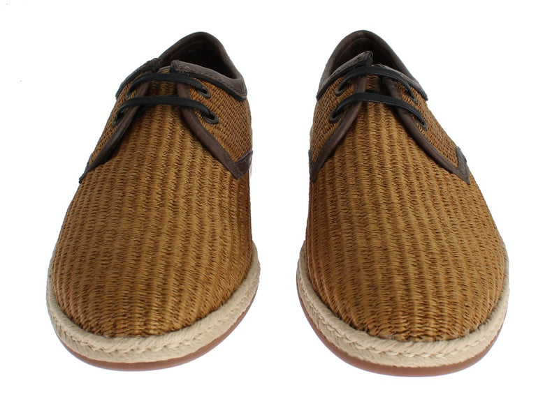 Dolce & Gabbana - Brown Woven Raffia Leather Laceup Shoes