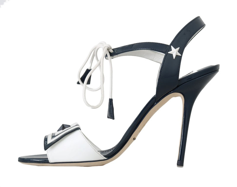 Dolce & Gabbana - Blue White Leather Sandals MARINA Shoes