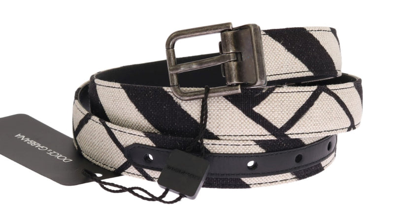 Dolce & Gabbana - Black White Striped Linen Leather Belt