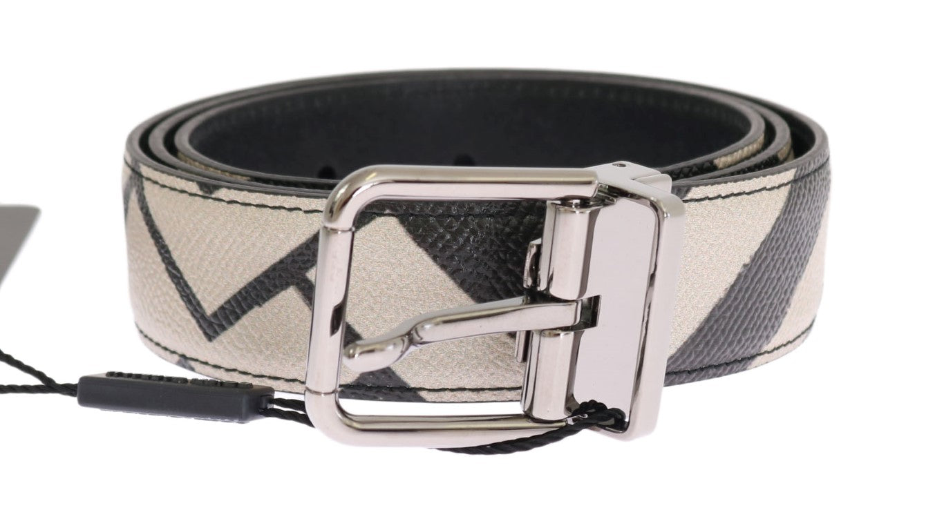 Dolce & Gabbana - Black White Striped Leather Belt