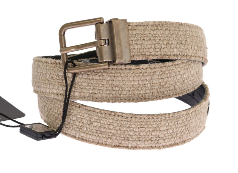 Dolce & Gabbana - Beige Linen Leather Gold Belt