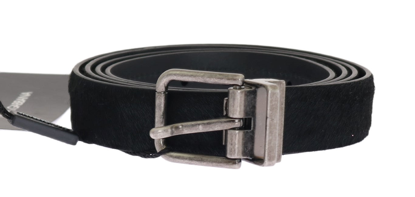 Dolce & Gabbana - Black Pony Fur Leather Belt