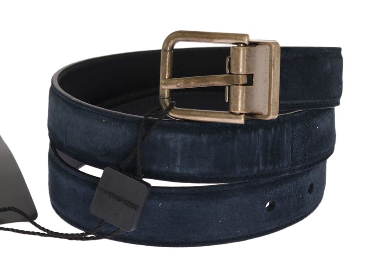 Dolce & Gabbana - Blue Leather Gold Brushed Buckle Belt