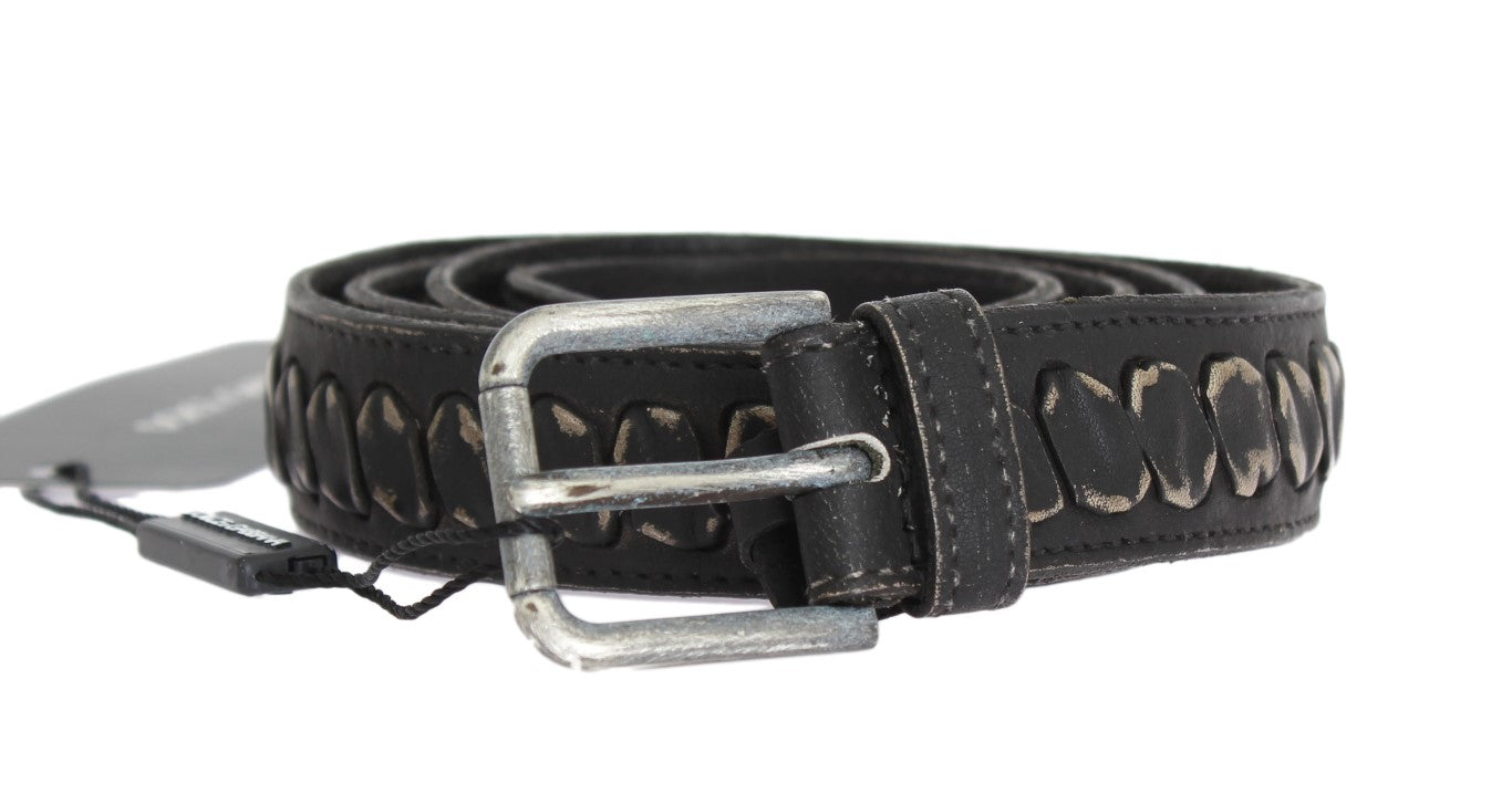 Dolce & Gabbana - Black Leather Silver Buckle Belt