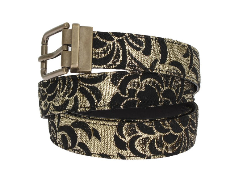 Dolce & Gabbana - Black Leather Gold Brocade Belt