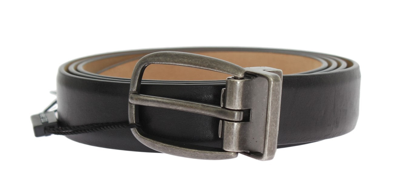 Dolce & Gabbana - Black Leather Gray Buckle Belt