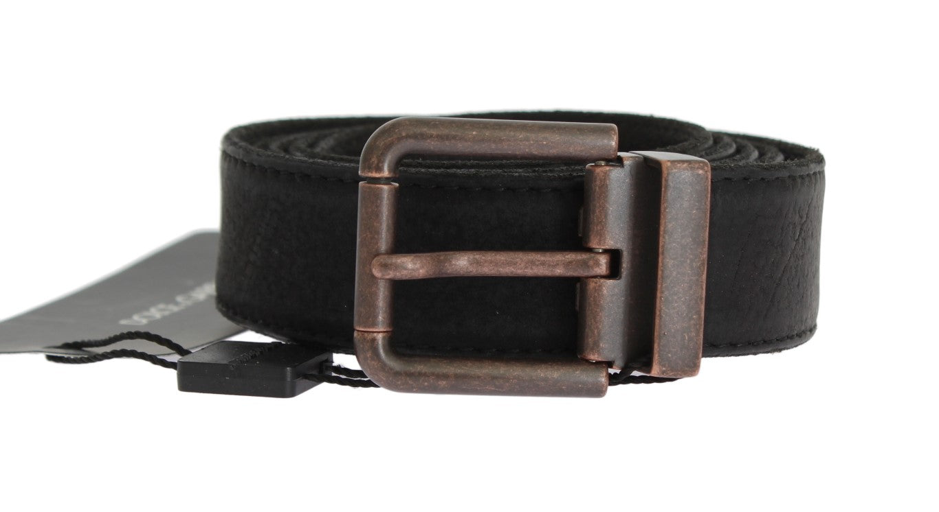Dolce & Gabbana - Black Leather Bronze Buckle Belt