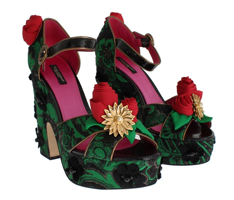Dolce & Gabbana - Green Brocade Snakeskin Roses Crystal Shoes