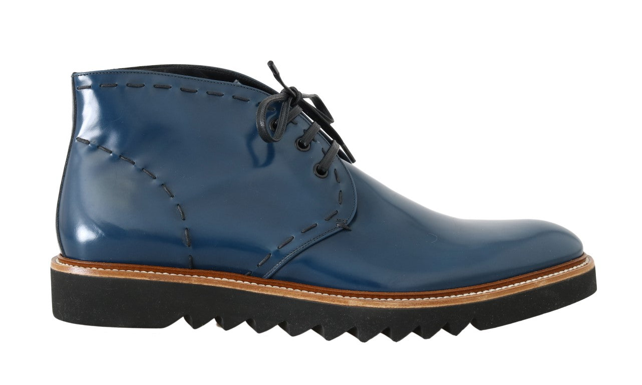 Dolce & Gabbana - Blue Leather Ankle Boots