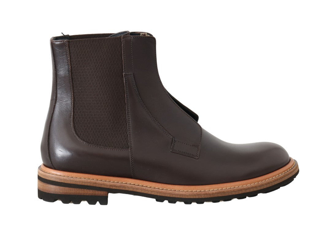 Dolce & Gabbana - Brown Leather Ankle Stretch Boots