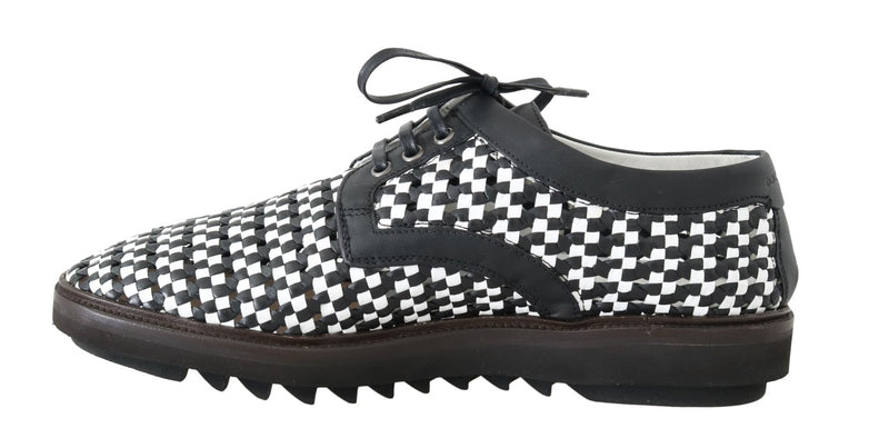 Dolce & Gabbana - Black White Woven Leather Casual Shoes