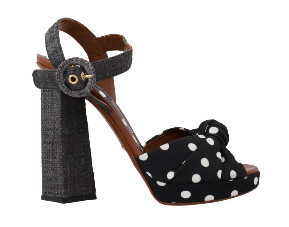 Dolce & Gabbana - Black Straw Ankle Strap Sandals