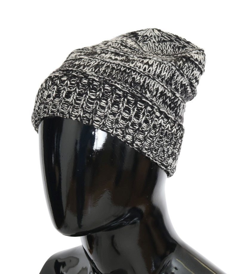 Dolce & Gabbana - Gray White Wool Winter Beanie