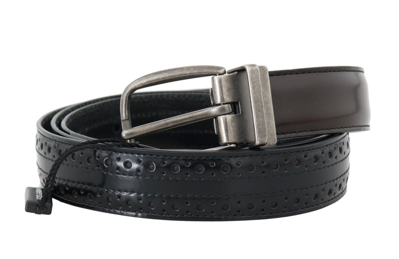 Dolce & Gabbana - Black Brown Perforated Leather Belt