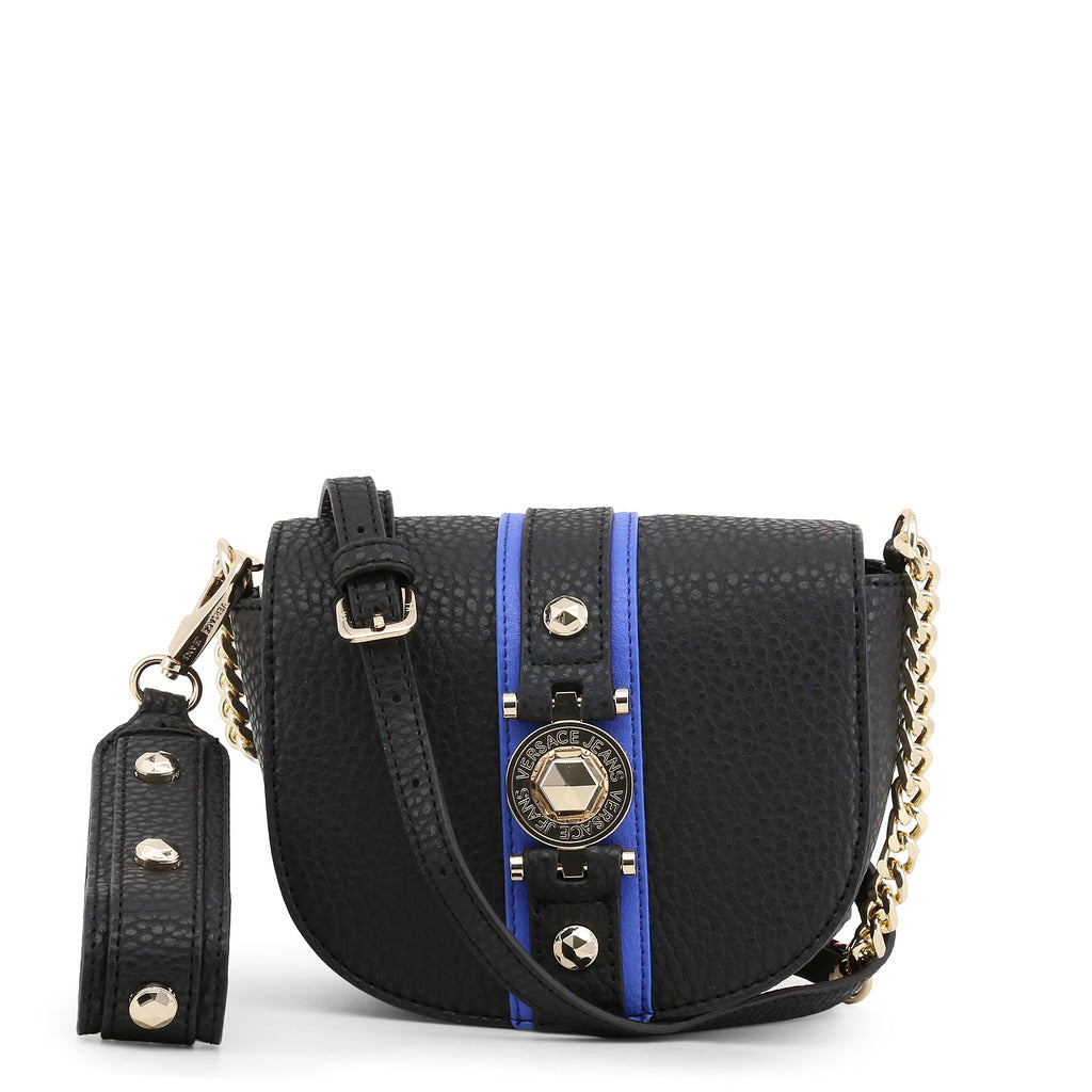Versace Jeans - Crossbody bag - Black Round Button with Blue and Gold Trim Saddlebag