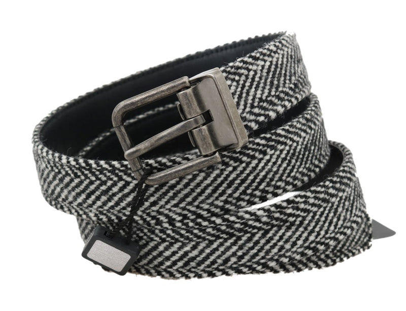 Dolce & Gabbana - Black White Chevron Wool Leather Belt