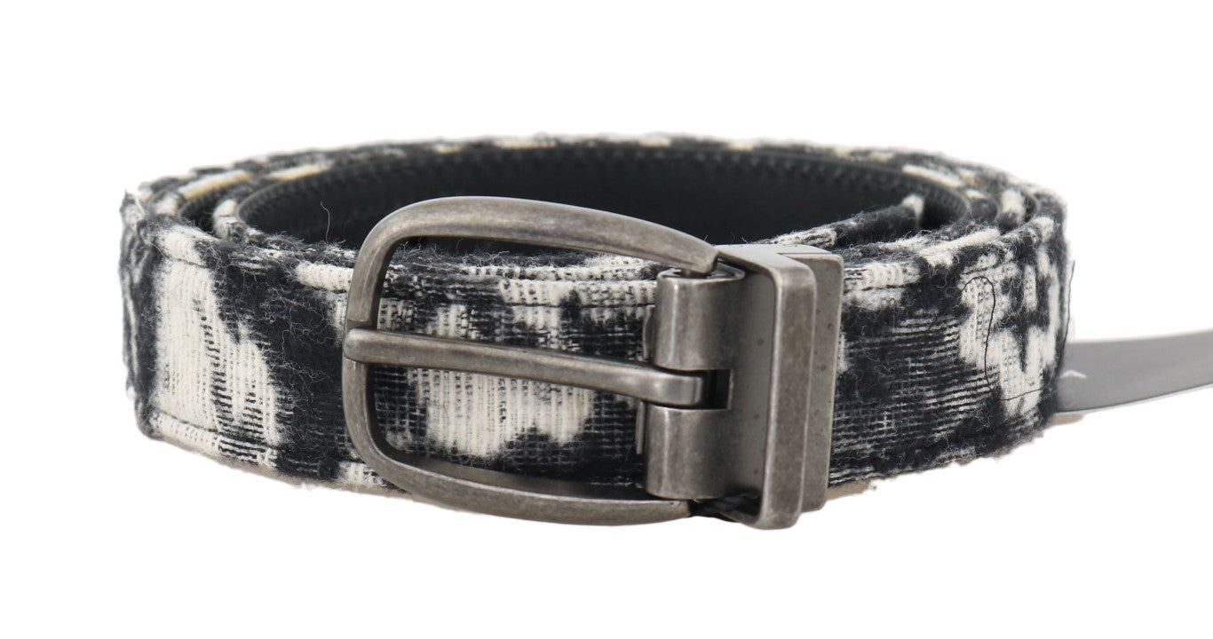 Dolce & Gabbana - Black White Pattern Cotton Leather Belt