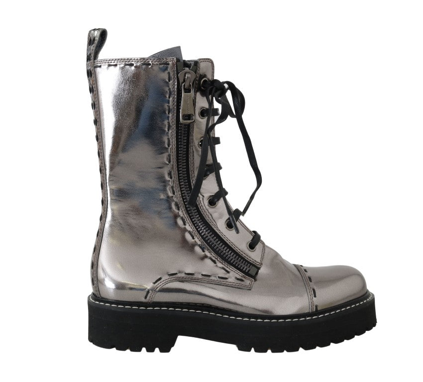 Dolce & Gabbana - Silver Leather Zipper Mid Calf Boots