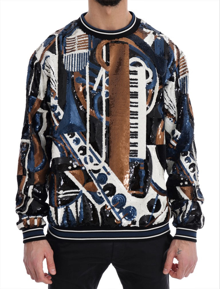Dolce & Gabbana - Multicolor Jazz Sequined Runway Pullover Sweater