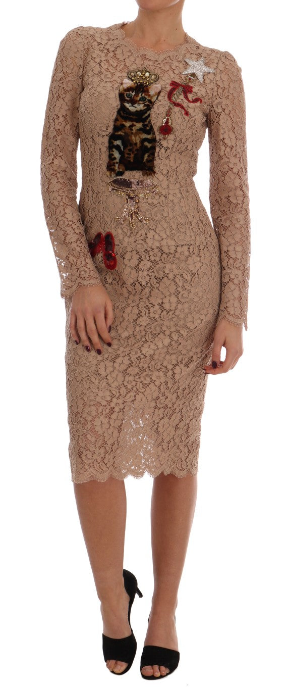 Dolce & Gabbana - Nude Pink Crystal Lace Dress