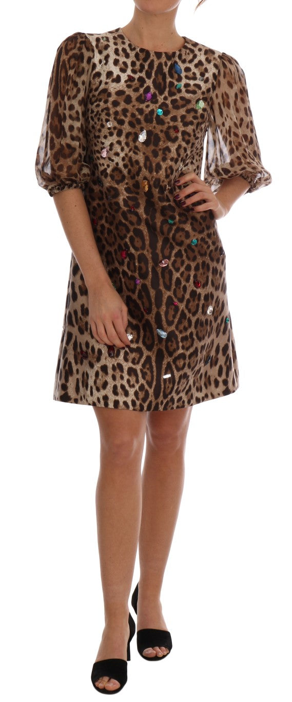 Dolce & Gabbana - Brown Leopard Crystal Embellished Shift Dress