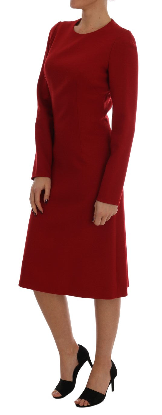Dolce & Gabbana - Red Crêpe Sheath Wool Knee-Length Dress