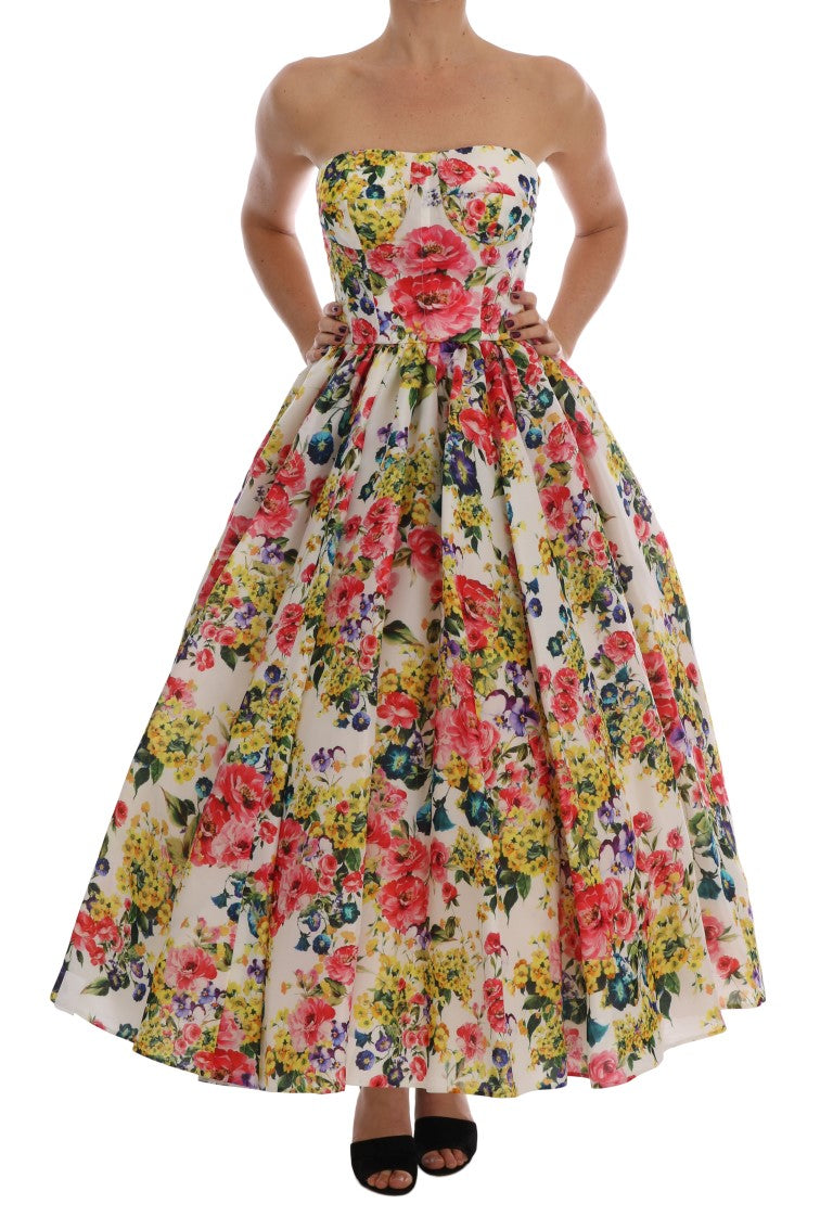 Multicolor Floral Print Ball Gown Dress