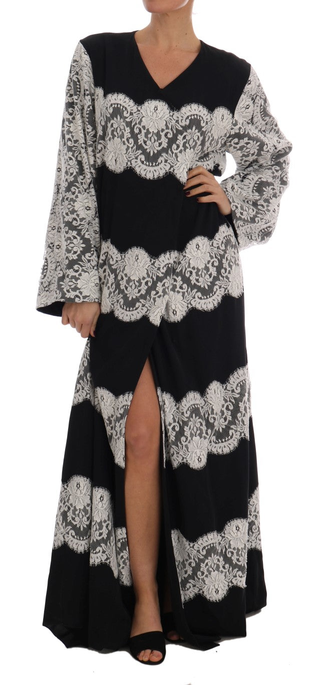 Dolce & Gabbana - Black Silk Floral Lace Kaftan Dress