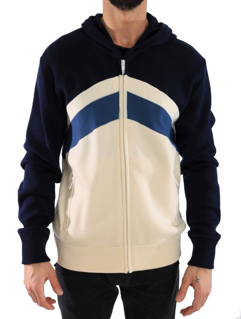 Dolce & Gabbana - Blue White Wool Mens Hooded Sweater