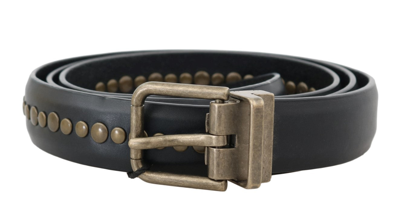 Dolce & Gabbana - Black Leather Studded Belt