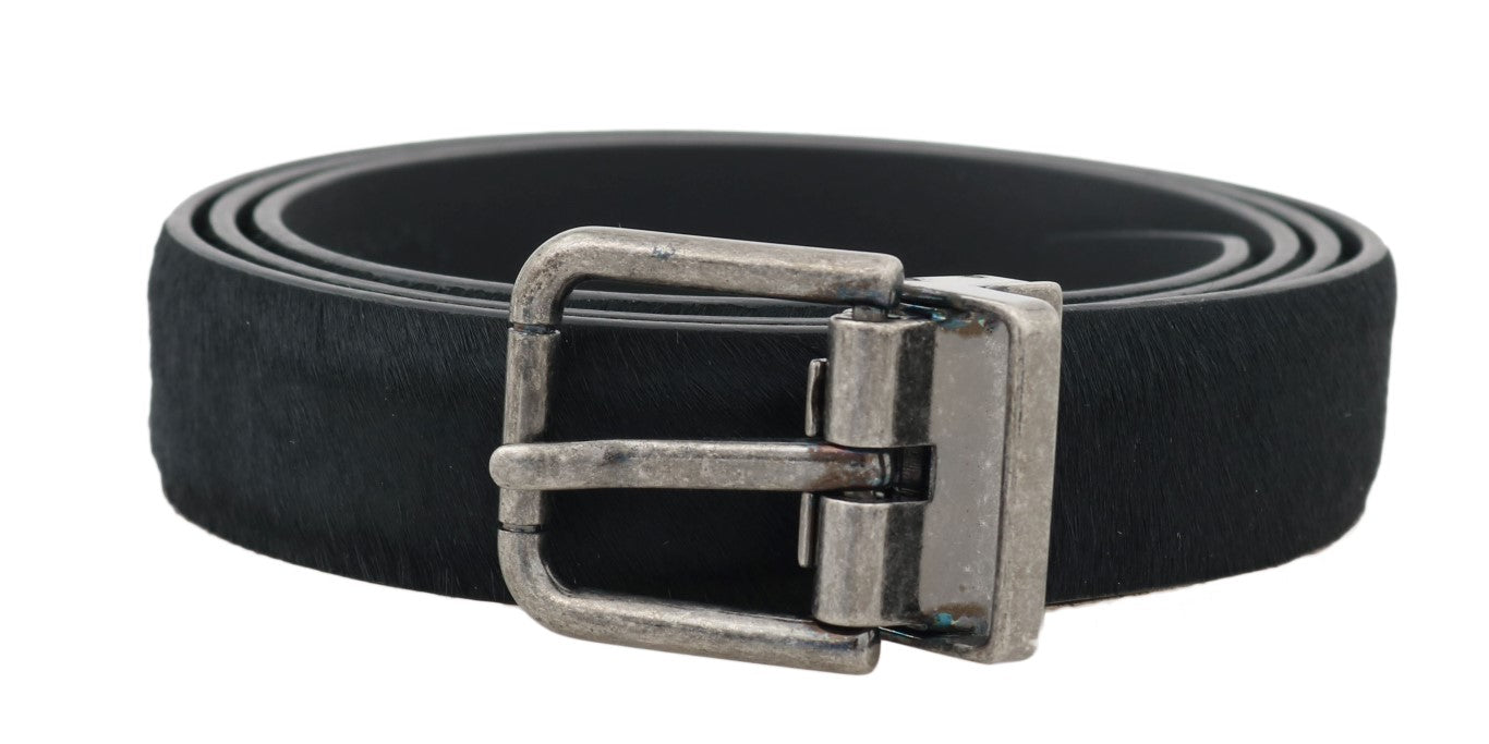 Dolce & Gabbana - Black Leather Fur Silver Buckle Belt
