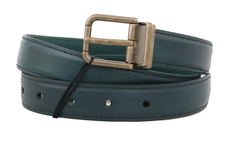 Dolce & Gabbana - Blue Leather Gold Buckle Belt