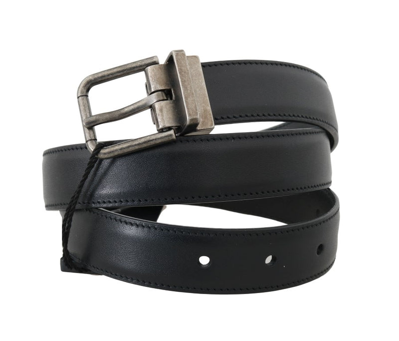 Dolce & Gabbana - Black Leather Gray Brushed Buckle Belt