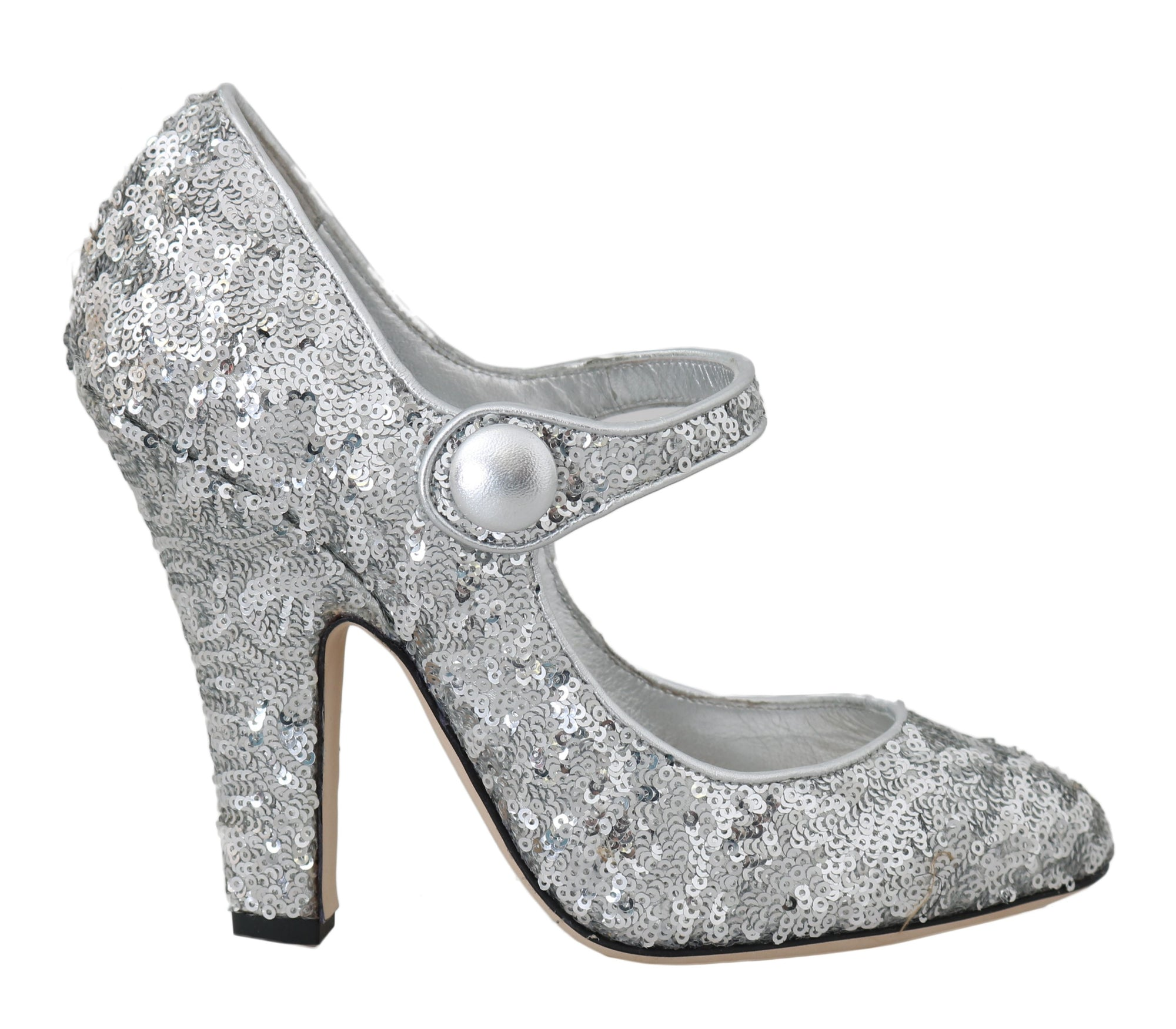 Silver Sequined Leather Mary Janes