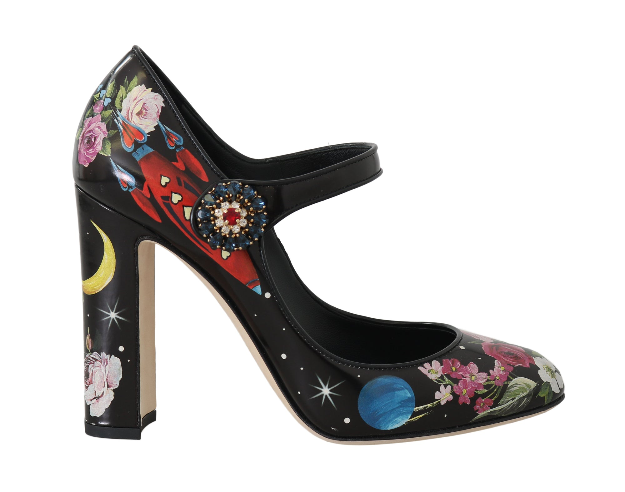 Astronaut Black Leather Crystal Pumps