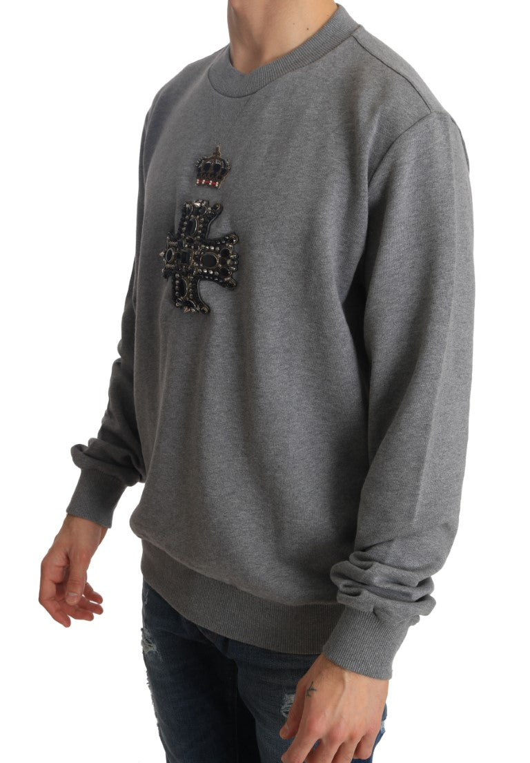 Dolce & Gabbana - Gray Cotton Crystal Royal Crown Cross Sweater
