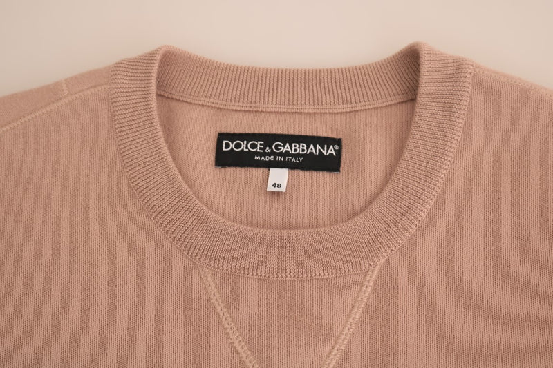 Dolce & Gabbana - Pink Cashmere Pullover Crew-neck Sweater
