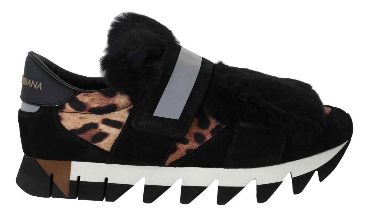 Leopard Leather Black Fur Sneaker