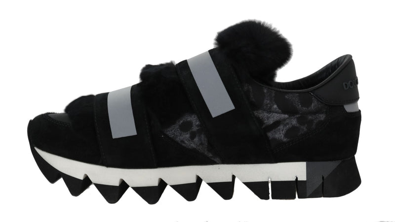 Leopard Leather Black Fur Sneakers
