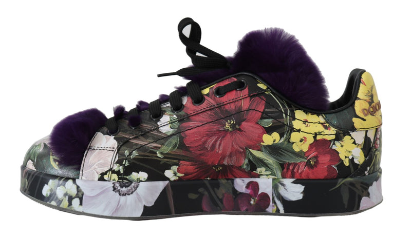 Floral Leather Purple Fur Sneakers
