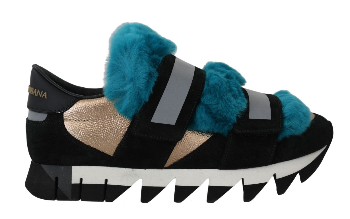 Black Leather Blue Fur Sneakers