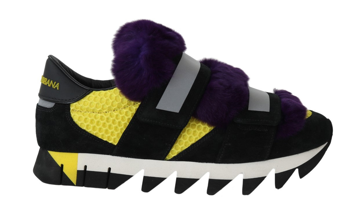 Black Leather Purple Fur Sneakers