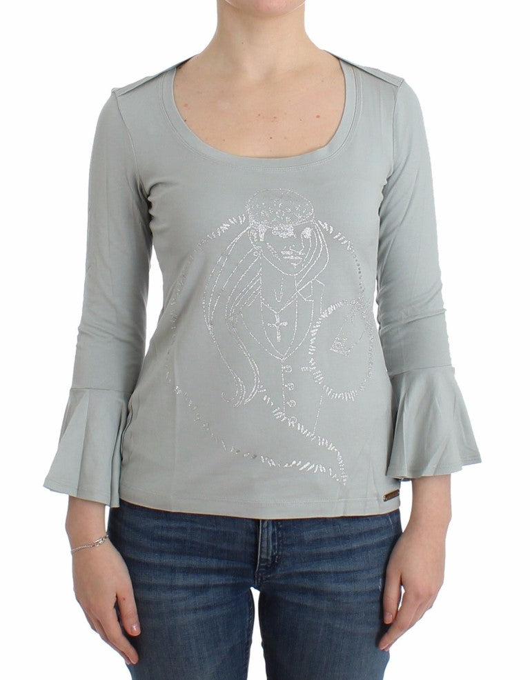 Galliano - Gray jersey print top blouse