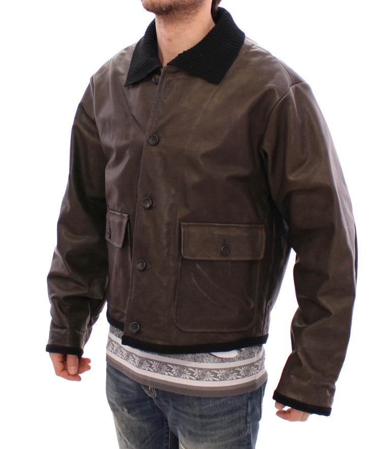 Brown Calf Leather Jacket Flight Aviator