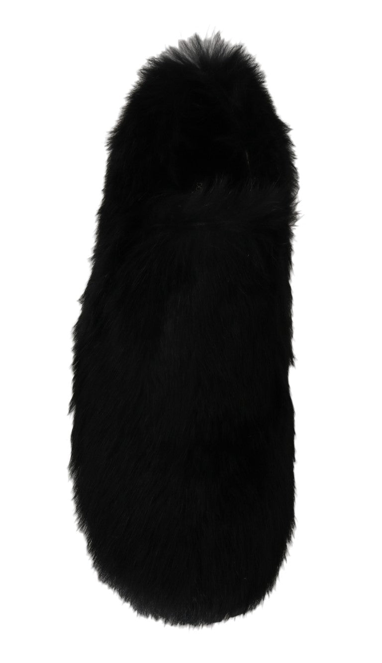 Black Lapin Fur Slippers Loafers