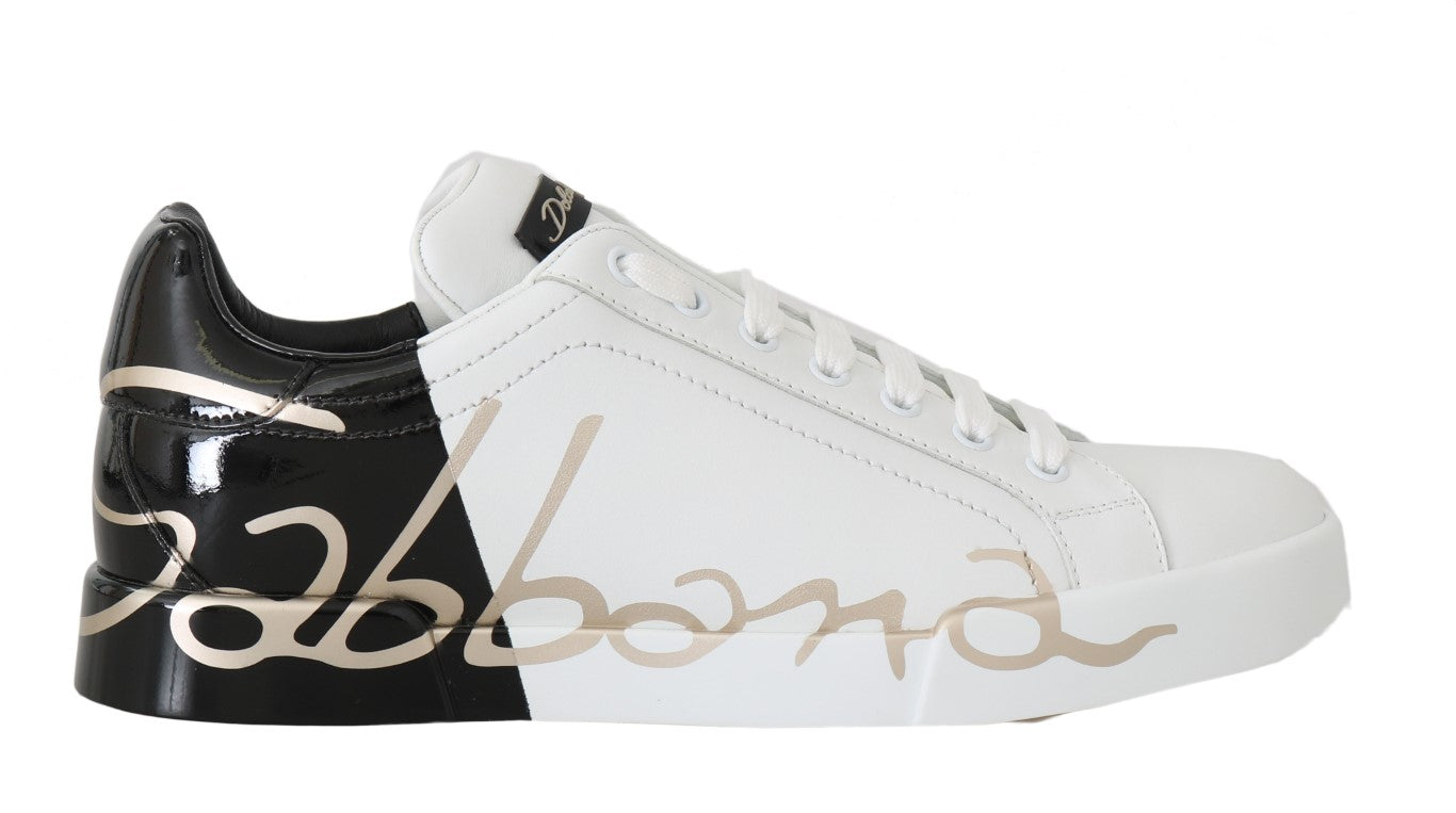 Black White Gold Logo Leather Women Sneakers